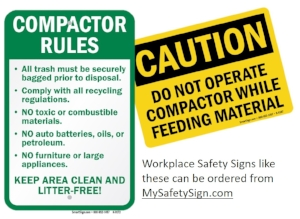Trash Compactor Safety Signs