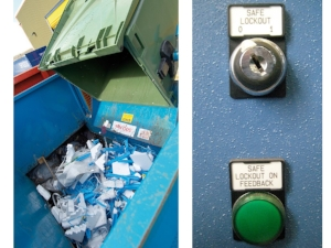 Dumping Trash in Compactor, On/Off Switch