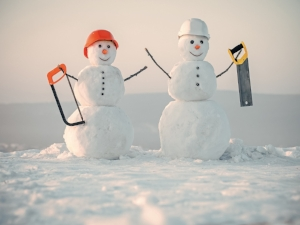 Snowmen Dressed Like Construction Workers