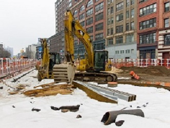 Construction Halted, Snowy Conditions