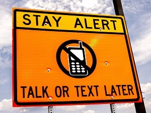 Stay Alert, Talk or Text Later, Warning Road Sign