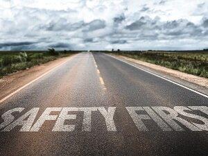 Safety First on Asphalt of Road
