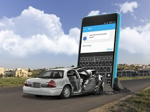 Artistic, Car Hits Large Cell Phone