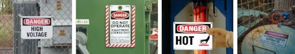Examples of workplace danger safety signs and tags.