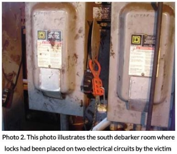 Debarker Room Where Locks Were Place on 2 Electrical Circuits