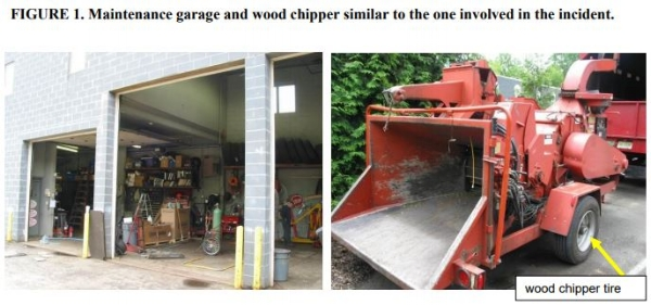 Maintenance garage and wood chipper similar to the one involved in the incident.