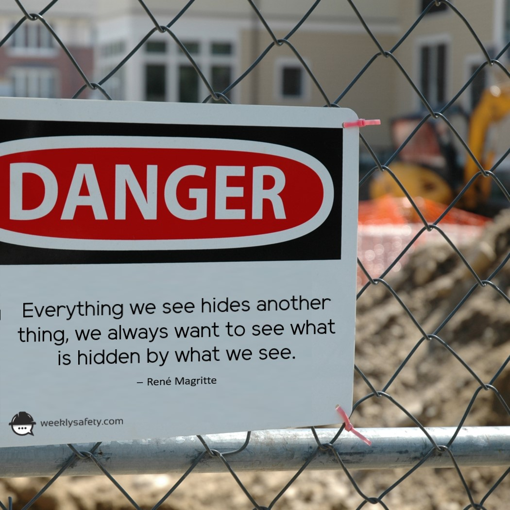 Danger sign, construction site, chain link fence