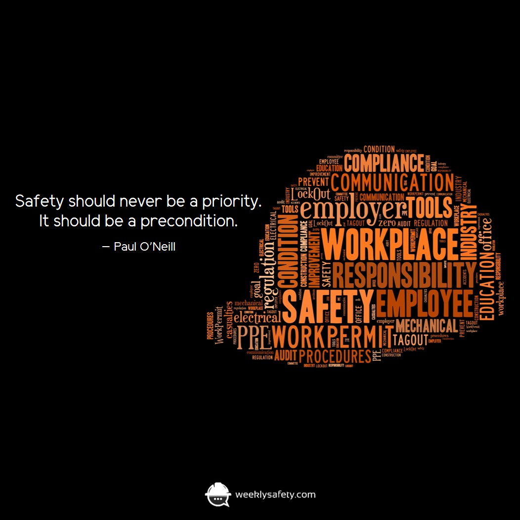 Dark black background with an illustrated hard hat made up of safety related words