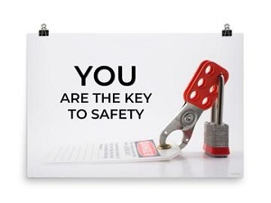 Lockout Tagout themed safety poster