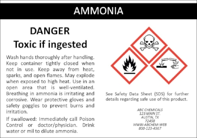 Sample OSHA and GHS Label for Ammonia