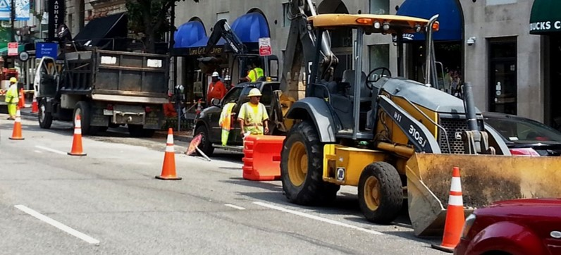 Work Zone on Busy City Street