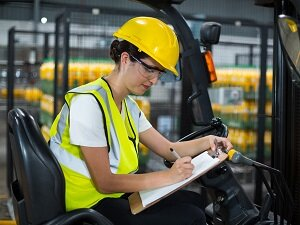 Forklift Operator, Writing on Clipboard, Wearing Hardhat