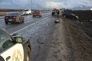 Scene of Tragic Car Accident, Debris All Over Road