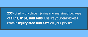 25% of all workplace injuries are sustained because of slips, trips, and falls. Ensure your employees remain injury-free and safe on your job site.
