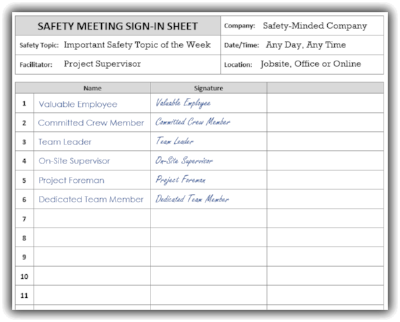 Safety Meeting Sign-in Sheet Example