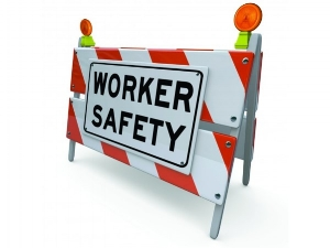 Barricade with Sign that says Worker Safety
