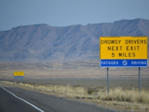 Drowsy Driving Sign on Highway