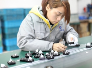 Worker Doing Small Assembly Work in Manufacturing Plant
