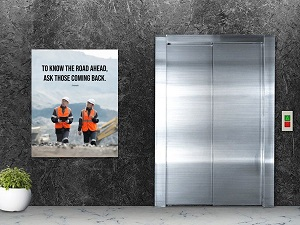 Safety Poster Outside Elevator