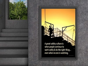 Framed Safety Poster by Outdoor Stairwell
