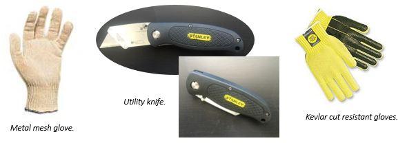 Metal Mesh Glove, Utility Knife, Kevlar Cut Resistant Gloves