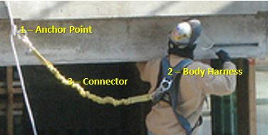 Worker Wearing PFAS, Show Anchor Point, Connector and Body Harness