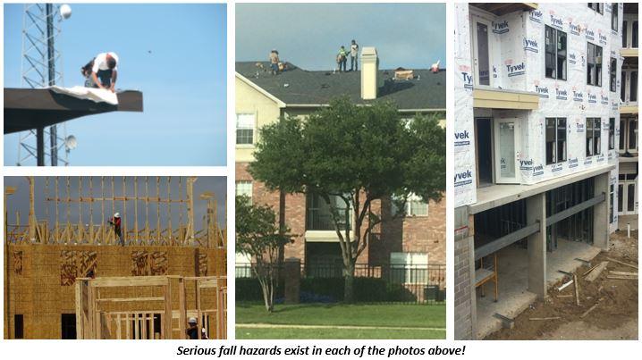 Photo examples of major fall hazards.