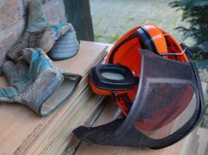 Gloves, Face Shield, Hard Hat and Ear Muffs