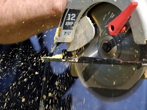 Using Circular Saw, Sawdust Flying