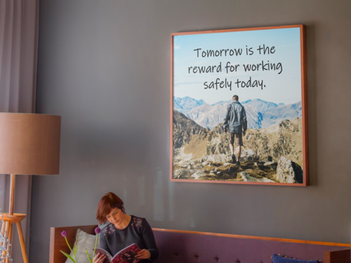 Framed Safety Poster Hanging in Lobby