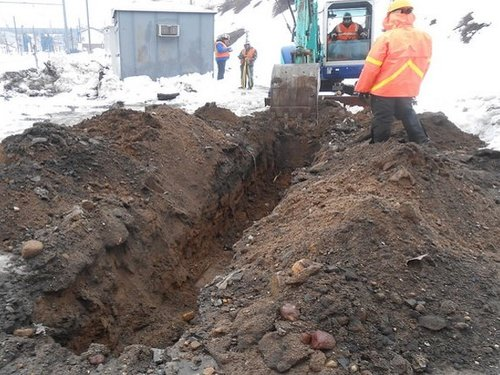 Workers Near Excavator Digging a Trench