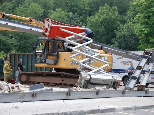 Scissor Lift Tip Over Accident Scene