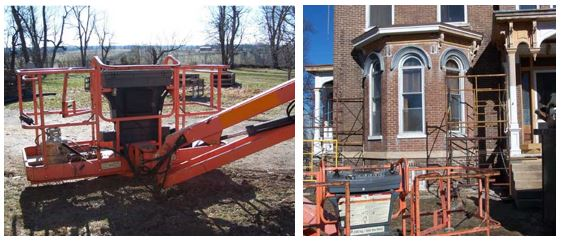 Images from the scene of the fatal incident when a roofer fell from a boom lift.