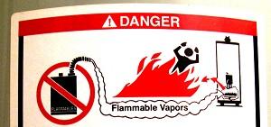 Flammable Vapors Warning Sticker