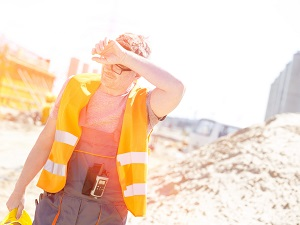 Construction Worker Sweating in the Heat