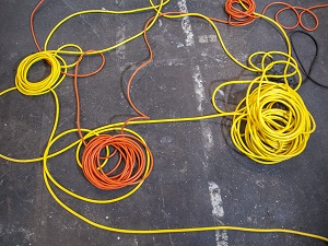 Extension Cords Laying on Ground