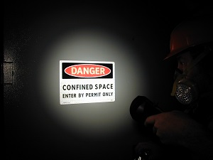 Danger Permit Only Sign on Confined Space