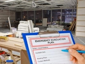 Construction Site, Clipboard Says Emergency Evacuation Plan