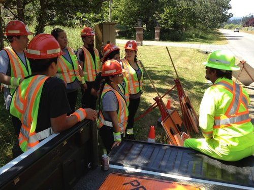 Outdoor Road Crew Having a Pre-Shift Safety Meeting
