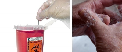Putting Needle in Sharps Container, Washing Hands