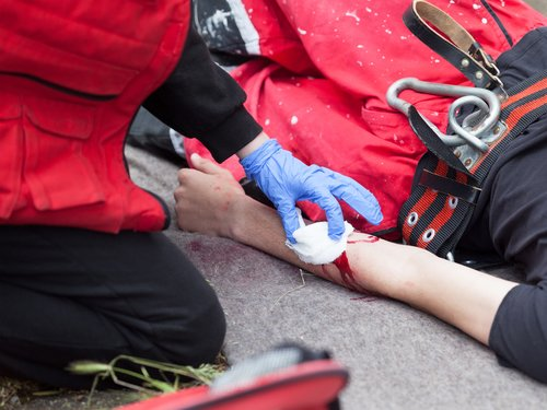 First Responder Providing First Aid