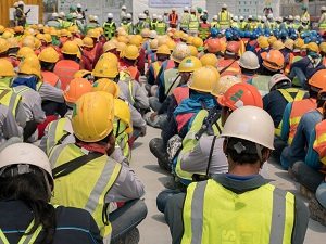 Construction Workers at Safety Stand Down