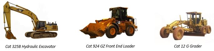 Examples of Excavator, Loader and Grader