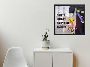 Framed Safety Poster in Lobby