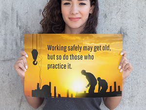 Woman Holding Up Safety Poster