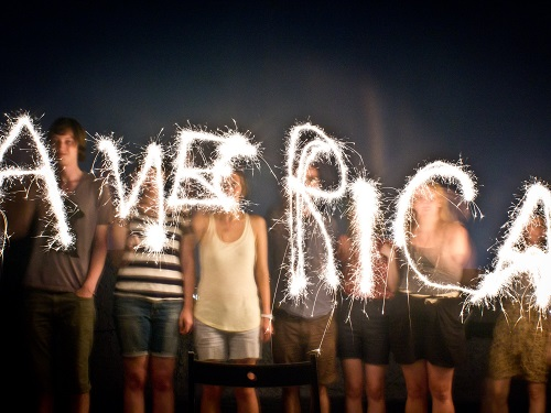 Friends Use Sparklers to Spell America