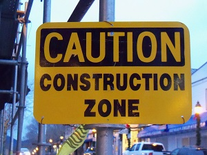Caution Construction Zone Sign Posted