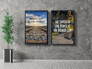 Framed Safety Posters in Lobby