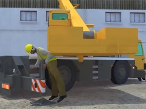 Excerpt from OSHA.gov video showing the caught-in danger of working near moving cranes.