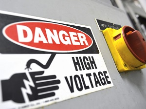 Danger High Voltage Sign on Electrical Equipment